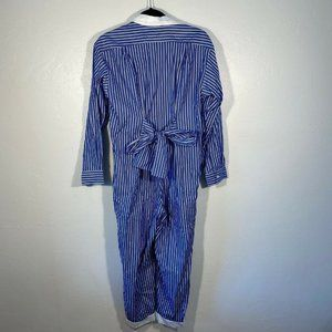 Maje Striped Jumpsuit Collared Button Up Bow XS